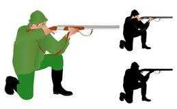 猎人瞄准 免版税库存图片