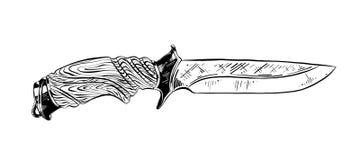 猎刀手拉的剪影在白色背景在黑色的隔绝的 详细的葡萄酒蚀刻样式图画 向量例证
