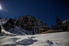 猎户星座和夜山的星座在冬天 库存图片