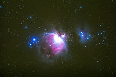猎户星座星云摄影采取与望远镜 库存照片