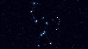 猎户星座星座、逐渐迅速移动的转动的图象与星和概述 库存例证