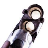 猎枪在白色的后膛特写镜头 库存照片