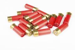 猎枪的12个测量仪红色狩猎弹药筒 免版税库存照片