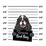 猎犬坏男孩 狗罪犯 拘捕照片 警察纪录 狗监狱 警察面部照片背景 向量 向量例证
