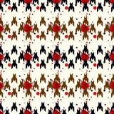 猎犬牙无缝的传染媒介patternwit红色花 在黑白颜色的几何印刷品 古典英语 库存照片