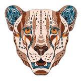 猎豹顶头zentangle传统化了,导航,例证,样式, 库存图片