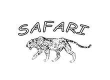 猎豹 手拉的墨水剪影 水平的图画 传染媒介板刻 食肉动物的线艺术 黑线在白色隔绝的例证 库存例证