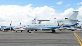 猎鹰7X在显示的企业喷气机在新加坡Airshow 2012年 库存照片