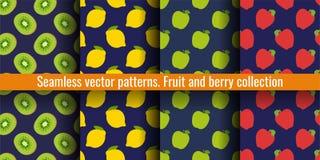 猕猴桃、柠檬和苹果 果子无缝的样式集合 衣裳或亚麻布的食物印刷品 时尚设计 秀丽传染媒介剪影 皇族释放例证