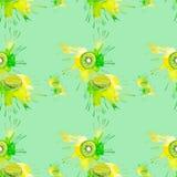 猕猴桃的水彩例证在绿色背景隔绝的汁液飞溅的 无缝的模式 向量例证