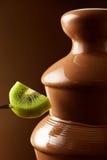 猕猴桃准备好浸洗在巧克力涮制菜肴 免版税图库摄影
