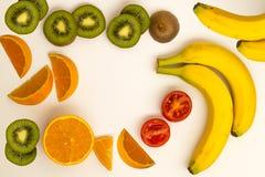 猕猴桃香蕉蕃茄桔子 免版税库存照片