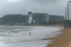 猛冲在海滩在桂海在芽庄市在Vietna 免版税库存图片