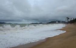 猛冲在海滩在桂海在芽庄市在Vietna 库存图片