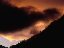 猛冲` s末端在日落,圣胡安范围,西南科罗拉多 库存照片