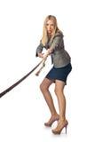 猛拉的女实业家 免版税库存图片