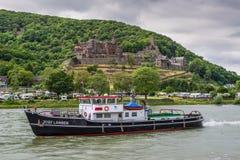 猛拉船莱茵河的约瑟夫兰根 库存照片
