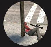 猛烈电脑游戏的射击 库存图片