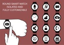 猛击在腕子的手指的传染媒介例证聪明的手表显示有接触姿态的 库存照片