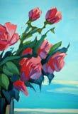猩红色玫瑰花束  库存例证