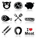 猪、猪肉-火腿和被设置的烟肉象 免版税库存图片