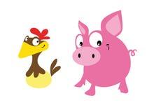 猪和母鸡 库存照片
