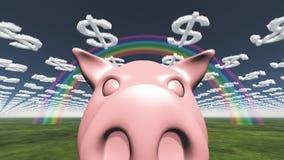 猪和美元云彩 库存图片