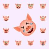 猪哭泣幸福emoji象 网和机动性的猪emoji象全集 向量例证