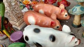 猪墨西哥雕塑  免版税库存照片
