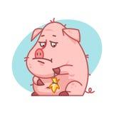 猪字符翻倒和哀伤 免版税库存照片