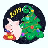 猪拿着袋子礼物 滑稽的字符用糖果 新年好 2019年 2007个看板卡招呼的新年好 免版税库存图片