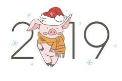 猪日历在2019年 与概念的传染媒介编辑可能的模板 年的标志在中国日历的 现实传染媒介 库存例证