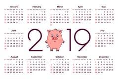 猪日历在2019年 免版税库存图片