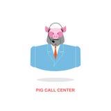 猪电话中心 与耳机的猪 牲口服装 库存照片