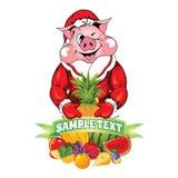 猪的例证在衣物圣诞老人项目的 免版税库存照片