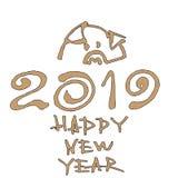 猪的年 传染媒介例证, 2019只手书面字法 新年快乐卡片设计元素 免版税图库摄影