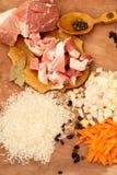 猪肉、米、香料和月桂叶肉饭的 库存照片