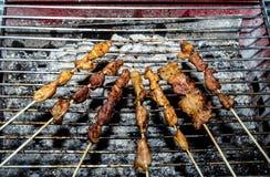 猪肉串在火炉烤 免版税库存图片
