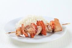 猪肉串用米 库存图片