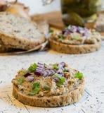 猪肉传播、猪油和酸黄瓜在新鲜的圆的面包,洒与春天和红洋葱 免版税库存图片