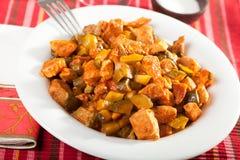 猪肉和菜炖煮的食物 图库摄影