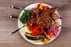 猪肉和菜烤肉 免版税图库摄影