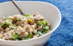猪肉和蘑菇沙拉酱肉用在一蓝色背景deta的米 免版税库存图片