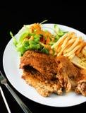 猪肉和鸡牛排用油煎的沙拉和法语 图库摄影