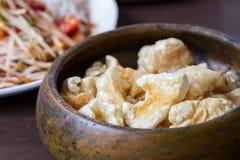 猪肉外皮,泰国食物 免版税库存图片