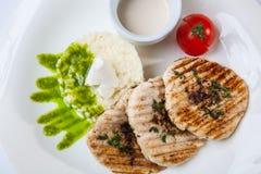 猪肉大奖章用米和调味汁 免版税库存图片