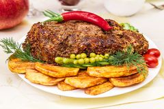 猪肉开胃被烘烤的内圆角  库存图片