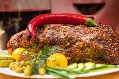 猪肉开胃被烘烤的内圆角  图库摄影