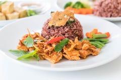 猪肉摇摄咖喱用莓果米和煎蛋卷 免版税图库摄影