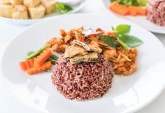 猪肉摇摄咖喱用莓果米和煎蛋卷 免版税库存照片